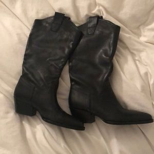 Zara leather cowboy boots